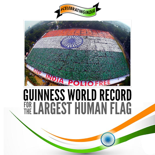 India today set a new world record for the largest human flag,