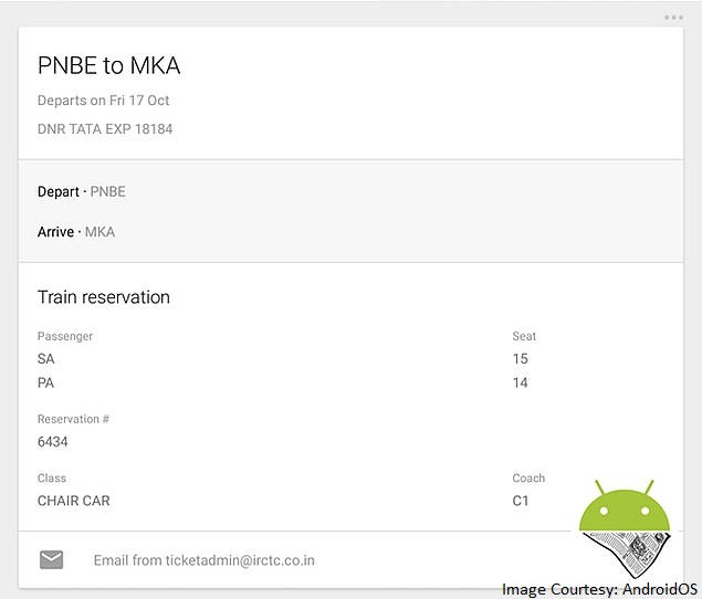 Google Starts Showing Indian Train Booking Details